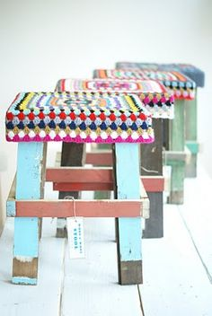 Love these rustic wood and crochet stools!