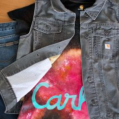#Carhartt Women's Tomboy Vest, Straight Fit Jean, and Calumet V-neck (see the #DIY here)