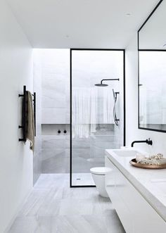 """Dipt Box """"Minimalist Bathroom"""" by Sample Dipt Design by Canny Homes Contemporary Minimalism at its finest–steel enclosed marble shower is all you really need. Powder Coated steel frames around the… Modern Marble Bathroom, Small Bathroom Interior, Bathroom Tile Designs, Modern Shower, Minimalist Bathroom, Modern Bathroom Design, Bathroom Colors, White Bathroom, Bathroom Ideas"""