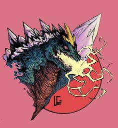Space Godzilla art by Leonard Gonzales. All Godzilla Monsters, Cool Monsters, Classic Monsters, King Kong, Cthulhu, Aliens, Godzilla Tattoo, Big Lizard, Dinosaur Tattoos