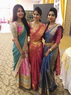 64 ideas hair styles for girls crazy Pattu Saree Blouse Designs, Half Saree Designs, Lehenga Designs, Designer Sarees Wedding, Designer Lehanga, Bridesmaid Saree, Wedding Silk Saree, Mode Blog, Indian Bridal Fashion