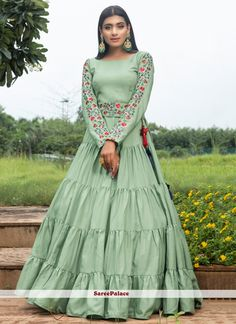 Cotton Green Floor Length Gown Costumes Anarkali, Anarkali Gown, Anarkali Suits, Lehenga Choli, Lehenga Blouse, Indian Lehenga, Indian Gowns, Pakistani, Designer Anarkali