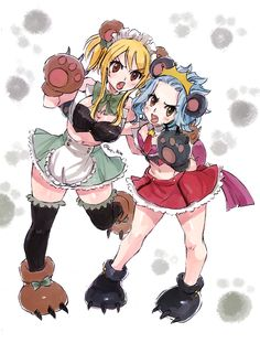 Lucy and Levy from fairy tail! Aww their look it's so cute ♡ bear idol/maid...great!