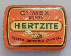ANTIQUE / VINTAGE CYMEX HERTZITE RADIO DETECTOR CRYSTAL TIN ADVERT BOX