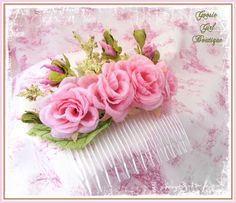 Pink Victorian Rose Hair Comb by goosie girl