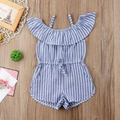 Summer 2018 Baby Girls Stripe Romper Kids Suspender Pants Jumpsuit Playsuits US Baby Outfits Newborn, Baby Boy Outfits, Kids Outfits, Little Girl Swimsuits, Suspenders For Kids, Suspender Pants, Girl Trends, Girls Rompers, Toddler Rompers