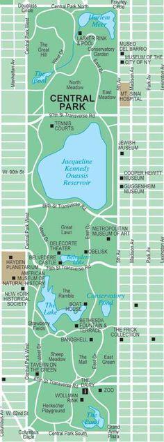 New York City Central Park Map.