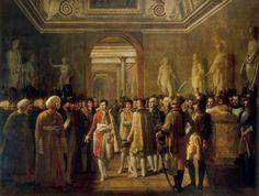 Napoleón en el Louvre recibiendo a los miembros del ejército después de su coronación, 08 de diciembre 1804.