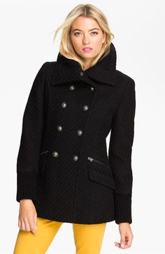 Buffalo by David Bitton Double Breasted Textured Peacoat available at #Nordstrom