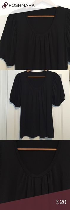 """Banana Republic Puff Sleeve Top Great Banaba Republic black puff sleeve top with scoop pleated neckline. Dress it up or down. Brand and size tag missing, so selling for a steal. Armpit to armpit measures 17"""" flat, plus stretch, Fits size medium. Banana Republic Tops"""