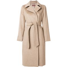 Max Mara Studio Emerson belted coat (€1.755) ❤ liked on Polyvore featuring outerwear, coats, jackets, maxmara, belted coat, belt coat, beige coat and coat with belt