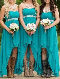 Cheap Wedding Guest Dresses, High Low Bridesmaid Dresses, Blue Bridesmaids, Wedding Party Dresses, Party Gowns, Country Style Bridesmaid Dresses, Country Dresses, Wedding Attire, Party Wedding