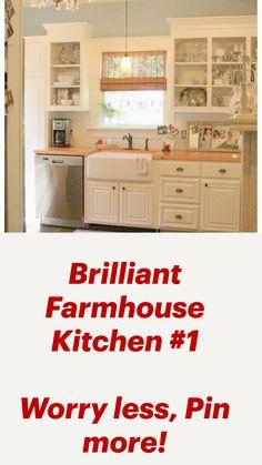 Small Farmhouse Kitchen, Farmhouse Kitchen Cabinets, New Kitchen, Farm House Kitchen Ideas, Open Cabinets In Kitchen, Diy Kitchen Ideas, Affordable Kitchen Cabinets, Home Depot, Kitchen Cabinet Inspiration