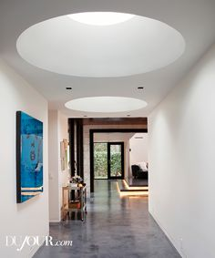 Gallery skylights and a glimpse of the great room- DuJour