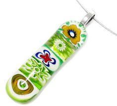 Groene hanger. Hippe glashanger van groen millefiori glas!