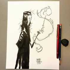 Snape #dailysketch original available http://skottieyoungstore.bigcartel.com #ink #harrypotter #sketch #darkarts