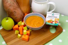 Our Squashy Potaoto - Stage One months- Butternut Squash, Sweet Potato and Apple Puree Sweet Potato And Apple, 5 Months, Butternut Squash, Baby Food Recipes, Pear, Stage, Potatoes, Tasty, Homemade