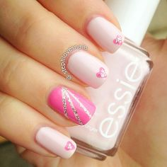 Pink Nails With Hearts and Silver Glitter