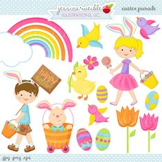 Easter Parade Cute Digital Clipart, Easter Graphics, Easter Clipart, Cute Easter Kids, Kids with Easter Bunny Ears, Digital Clip Art, Spring by JWIllustrations on Etsy https://www.etsy.com/uk/listing/68966303/easter-parade-cute-digital-clipart