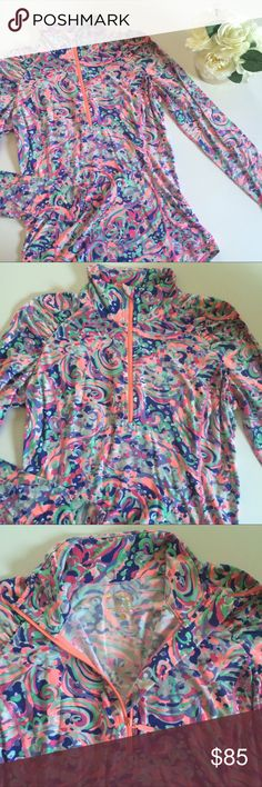 [ Lilly Pulitzer ] Luxletic La Playa Pop Over Excellent condition, super soft luxe material, super cute playful print, with a very convenient 3/4 zip up neck. 🚫 No Trades 🚫 Lilly Pulitzer Sweaters