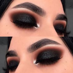 Makeup Tutorial Olho Preto Esfumado Com Glitter! Tutorial de maquiagem Smoky Black Eye With Glitter! Hooded Eye Makeup, Eye Makeup Tips, Glam Makeup, Makeup Goals, Makeup Inspo, Makeup Inspiration, Beauty Makeup, Makeup Ideas, Makeup Basics
