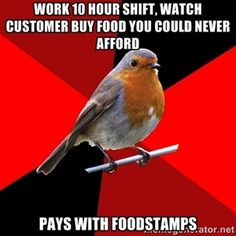 Work 10 hour shift, watch customer buy food you could never afford pays with foodstamps | Retail Robin