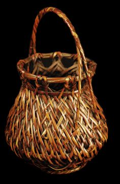 """Bamboo flower basket made of smoked bamboo.  Anonymous 15"""" tall x 9"""" diam"""