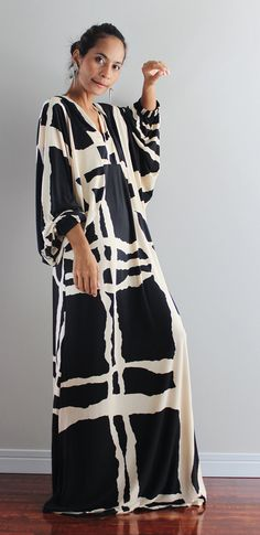 Black and Cream Maxi Dress Funky Evening Dress: Funky