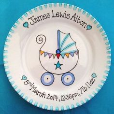 Personalised new baby gift plate with cute pram design. Personalised with name and birth details or your own wording for any event.