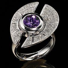 Damen-Ring 585 Gold Weißgold 109 Diamant-Brillanten 0,60ct. 1 Amethyst