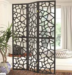 World Menagerie Charlayne 3 Panel Room Divider Portable Room Dividers, Sliding Room Dividers, Home Design Decor, House Design, Design Room, Design Design, Diy Home Decor, Interior Design, 4 Panel Room Divider