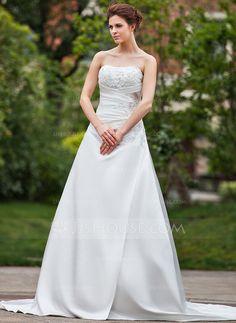 Wedding Dresses - $212.99 - A-Line/Princess Sweetheart Cathedral Train Satin Wedding Dress With Ruffle Lace Beadwork (002000465) http://jjshouse.com/A-Line-Princess-Sweetheart-Cathedral-Train-Satin-Wedding-Dress-With-Ruffle-Lace-Beadwork-002000465-g465
