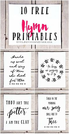 10 Free Hymn Printables, Free Printables, Hymn Printables, Easy Wall Decor, Prints, Wall Art, Inspirational, Free printables for the home #easyhomedecordiy