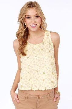 Daisy Dreams Sheer Cream Sequin Top at LuLus.com!