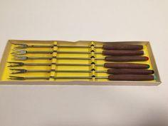 6 Vintage Fondue Fork Set Stainless Steel Wood Multi Color Retro in Box Japan #Unbranded