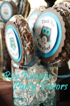 Creative Mommas: Owl Themed Baby Shower - thank you favours