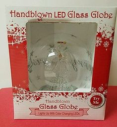 Handblown LED Angel Glass Globe Lights Up With Color Changing LED's NIB
