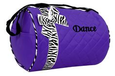 Dance bag - Quilted Zebra Duffle in Purple *** Click image to review more details.