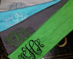 Embroidered Monogrammed Headband by Thesassycoconut on Etsy, $8.00