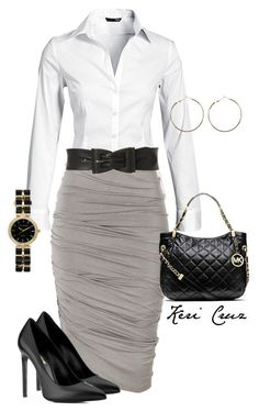 """Cute work outfit"" by keri-cruz ❤ h&m, donna karan, jane norman, michael michael kors, yves saint laurent and warehouse Office Skirt Outfit, Cute Office Outfits, Outfit Work, Classy Work Outfits, White Outfits, Stylish Outfits, Office Dresses, Everyday Outfits, Everyday Fashion"