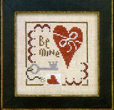 Lizzie Kate Flip-It Charm February - Cross Stitch Pattern. Model stitched over 2 threads on 28 Ct. Country French Cafe Mocha linen with Gentle Art Sampler threa Cross Stitch Finishing, Cross Stitch Heart, Cross Stitch Kits, Cross Stitch Designs, Cross Stitch Patterns, Cross Stitching, Cross Stitch Embroidery, Embroidery Patterns, Lizzie Kate
