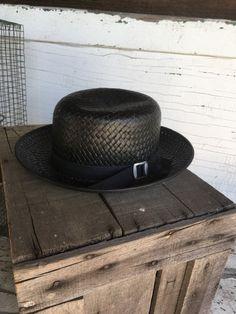 08bca46c Amish Straw Hat Boys - Summer Black Straw Wide Brim Fedora - Super Quality  Open Crown Amish Hat - Pe