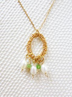 Pear Crystal Pendant- Gold Crochet Bridesmaids Set made To Order with Gold Filled Chain