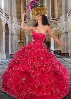 Charming Organza & Satin Sweetheart Neckline Floor-length Ball Gown Sweet 16 Dress