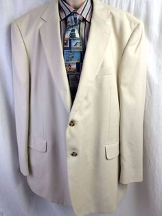 Stafford Sport Coat 50R Ivory Cream 2 Button Vented Lined Mens Blazer Jacket #Stafford #TwoButton