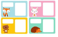FREE printable exercise book tags for kids (or adults who love cute, bright animals and such!)