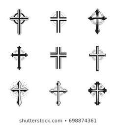 Imágenes similares, fotos y vectores de stock sobre cross tattoo vector ; 265510940 | Shutterstock Cruz Tattoo, Cross Tattoo Designs, Face Design, Tattoos For Guys, Tatoos, Old School, Tattoo Ideas, Logo, Paper