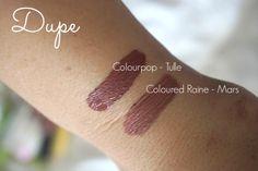 Colourpop tulle dupe coloured raine mars liquid lipsticks