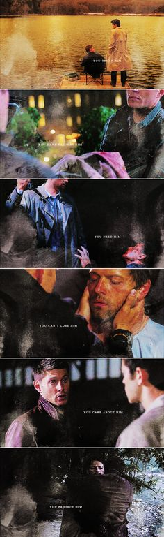 Dean + Castiel: What does it mean when you feel all these things? It means you love him. #spn #destiel