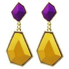 purple and yellow earrings at T-shop by Tereza Callitsas Lilac Grey, Teal Yellow, Shades Of Yellow, Yellow And Brown, Purple Yellow, Deep Purple, Yellow Earrings, Drop Earrings, Lavender Lemonade